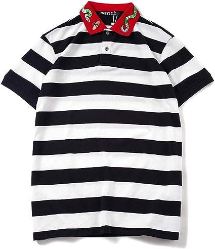 AFCITY Camiseta para Hombre Camisa Polo Bordada a Rayas ...