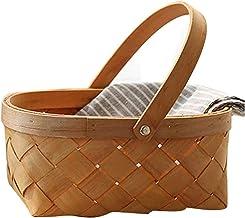 ZLHW Panier tissé à la Main avec poignée Rattan Basket de Rangement Naturel Seagrass Boîte de Rangement Panier de Pique-Ni...