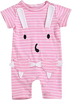 6f190a44c18f Adagod Bunny Children Kids Baby Short Sleeves Cartoon Stripe Rabbit Pocket  Romper Jumpsuit Blue