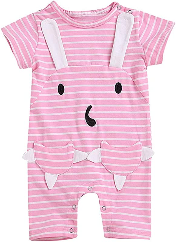 Wenini Toddler Baby Girls Short Sleeves Cartoon Stripe Rabbit Pocket Romper Jumpsuit