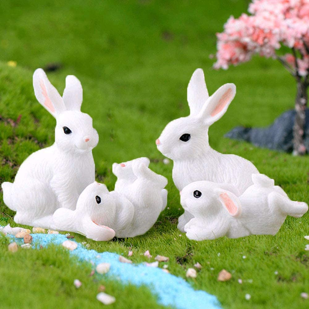4Pcs Miniature Fairy Garden 100% quality warranty! Ornaments Regular discount Rabbit Anima