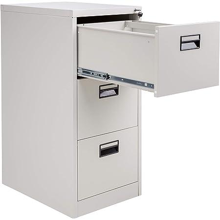 TecTake Armoire à dossiers, 3 tiroirs pour dossiers au DIN A4, (Gris)