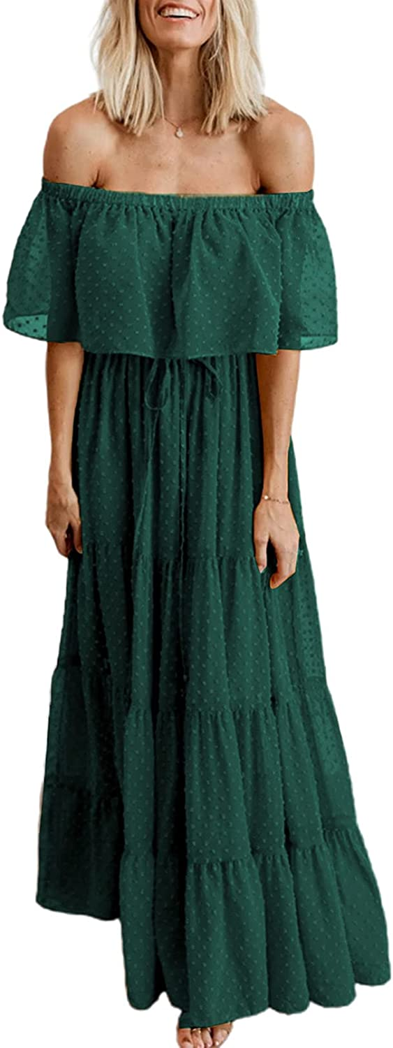 BLENCOT Womens Casual Floral Lace Swiss Dots Off The Shoulder Long Evening Dress Cocktail Party Maxi Wedding Dresses