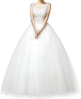 Viktion Vestito da sposa, da donna, elegante, in pizzo con schiena nuda, con fiori
