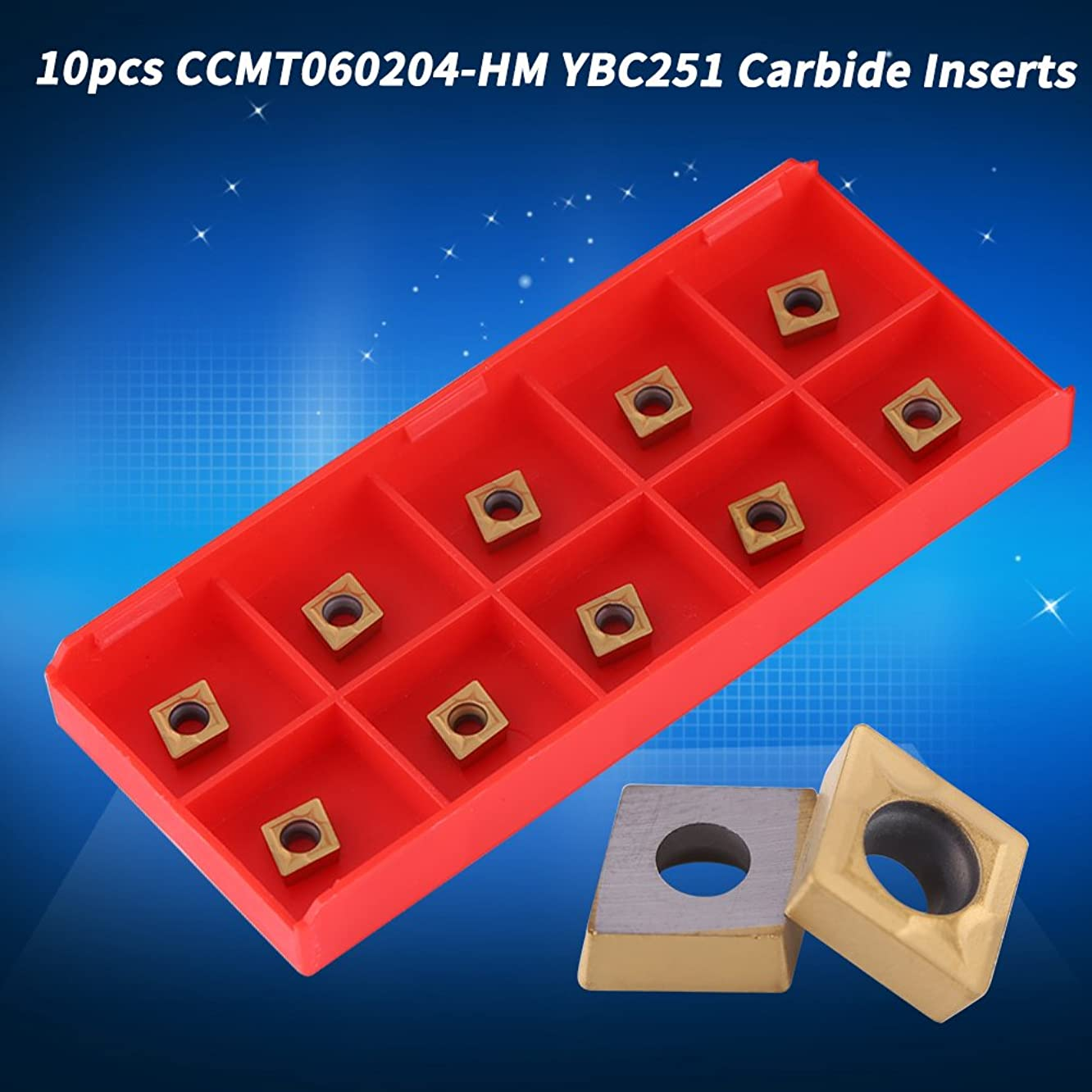 10 x CNC Carbide Tips Inserts,CCMT060204-HM YBC251 Blade Cutter Lathe Turning Tool with Box for semi-Finishing Steel,Gold,High Strength, High Toughness,10 x 6 x 2.5mm