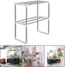 "TabEnter 2 Tier Adjustable Microwave Oven Shelf Organizer Expandable Stainless Steel Roaster Rack with 6 Actions Hooks 19.4""-31"" (L)"