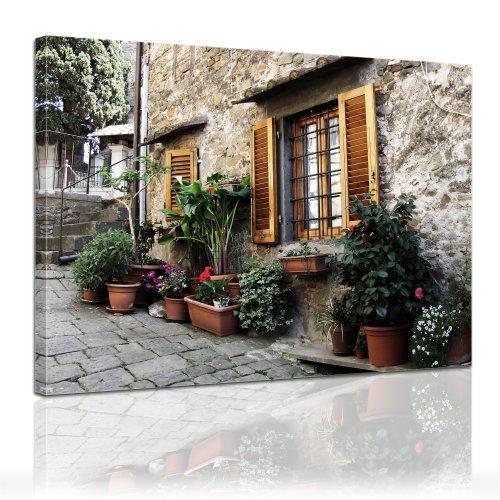 Wandbild - Mediterran - Bild auf Leinwand - 60x50 cm - Leinwandbilder - Urlaub, Sonne & Meer - Mittelmeer - Lebensgefühl - Flora - Fassade