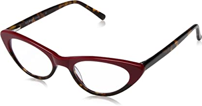 A.J. Morgan Women's Fifi - Power 1.75 69142 Rectangular Reading Glasses, Red/Tortoise