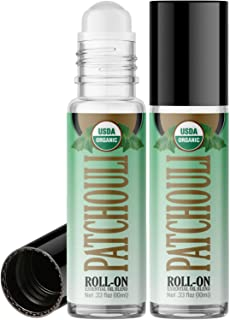 Organic Patchouli Roll On Essential Oil Rollerball (2 Pack - USDA Certified Organic) Pre-diluted with Glass Roller Ball fo...