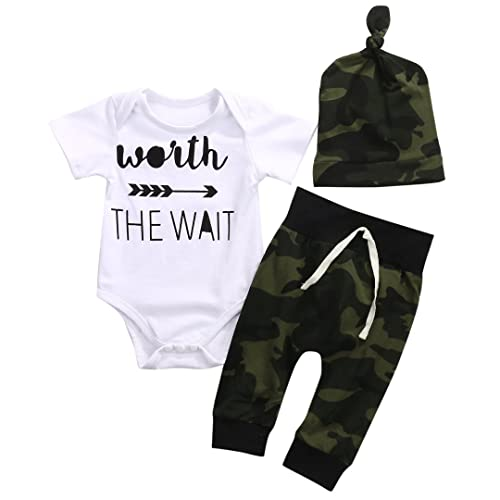 cd97fb07d6015 3PCS Newborn Baby Boys Cute Letter Print Romper+Camouflage Pants+Hat Outfits  Set