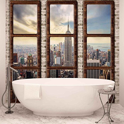 New York City Skyline Fenster Ausblick - Forwall - Fototapete - Tapete - Fotomural - Mural Wandbild - (2832WM) - XL - 208cm x 146cm - VLIES (EasyInstall) - 2 Pieces