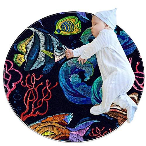 PLOKIJ Broderie Sea Life Coquillages Coraux Bébé Tapis de Jeu Tapis de Jeu Tapis de Sol Enfants Bébé Enfants Tapis Circulaire Mobile 27,6 x 27,6 cm, Multicolore 02, 80x80cm/31.5x31.5IN
