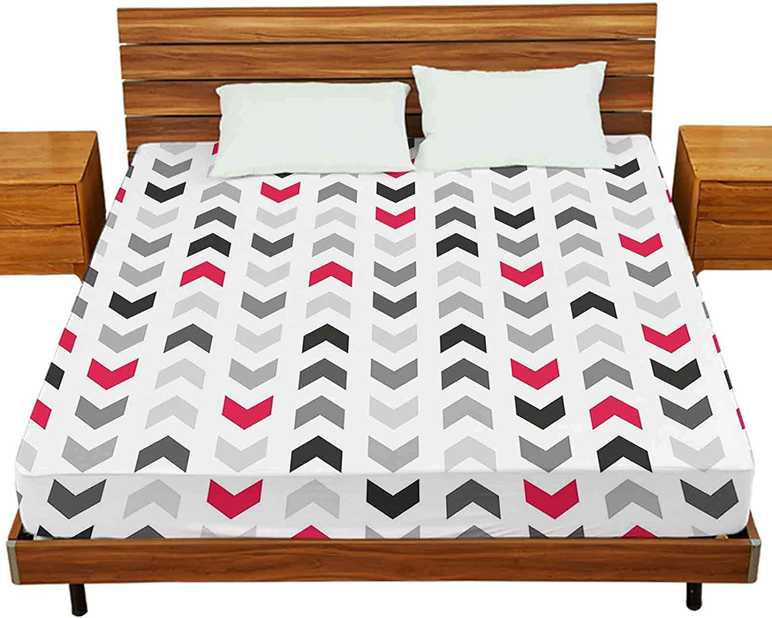 Queen Limited time for free shipping Bed 5 popular Sheet Set Tile Pattern with Arrows Wh Grey Red and On
