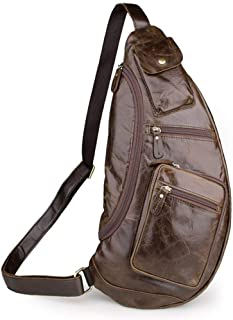 Large Capacity Business Casual Backpack Outdoor Travel Daypack for Travel Hiking School Men's Leather Chest Sling Crossbody Shoulder Handbag Sturdy (Color : Bronze)