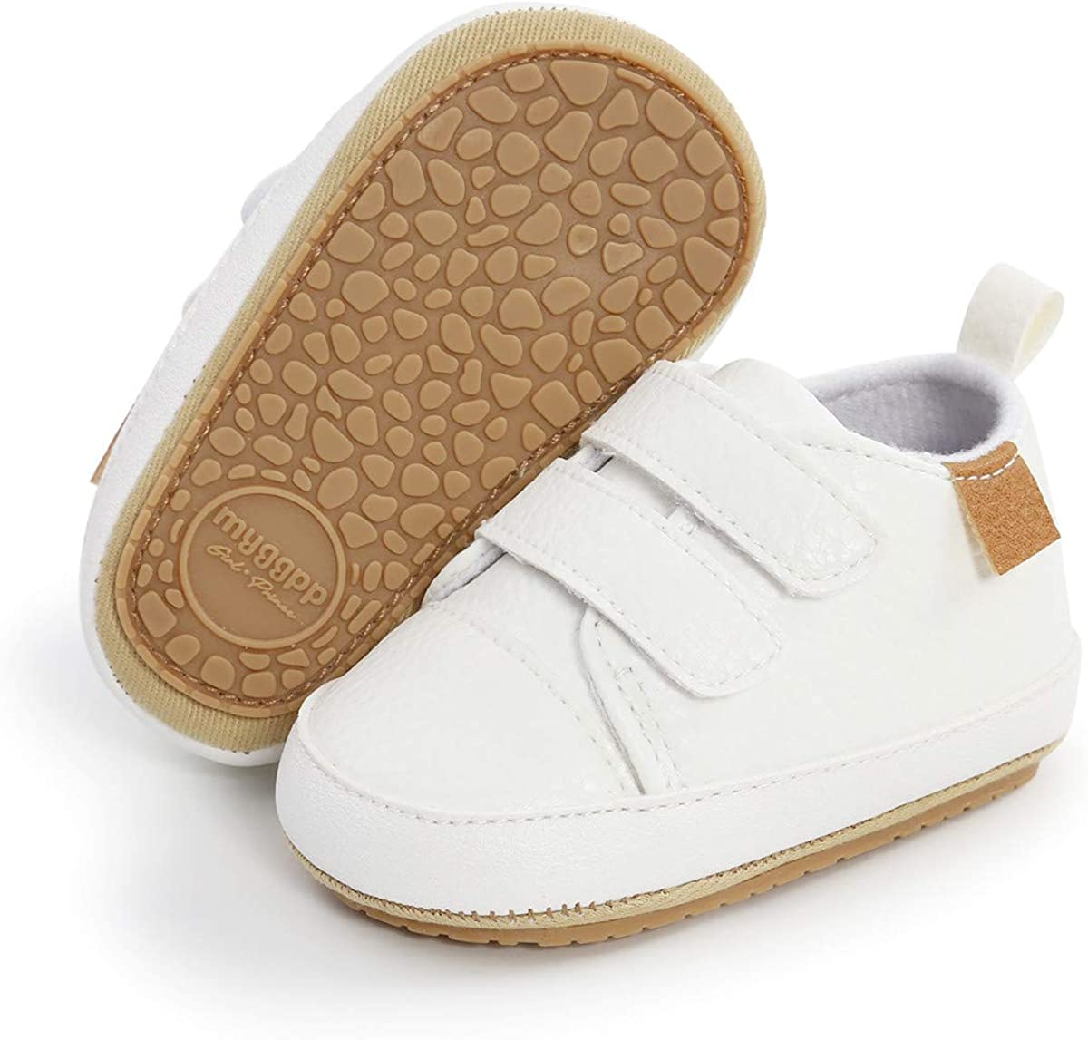 COSANKIM Baby Boys Girls Shoes Lace Up Leather Infant Sneakers Non Slip Rubber Sole Newborn Loafers Toddler First Walker Crib Shoes