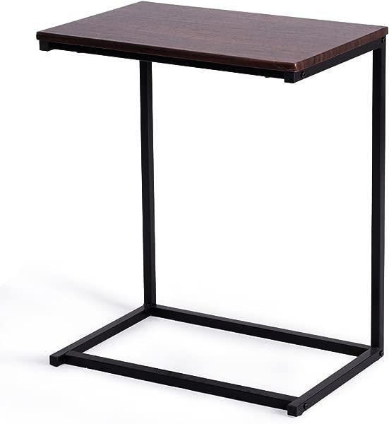 GOFLAME 沙发侧端桌带硬木 C 桌笔记本电脑架端架书桌茶几笔记本平板小吃桌沙发便携工作站胡桃木