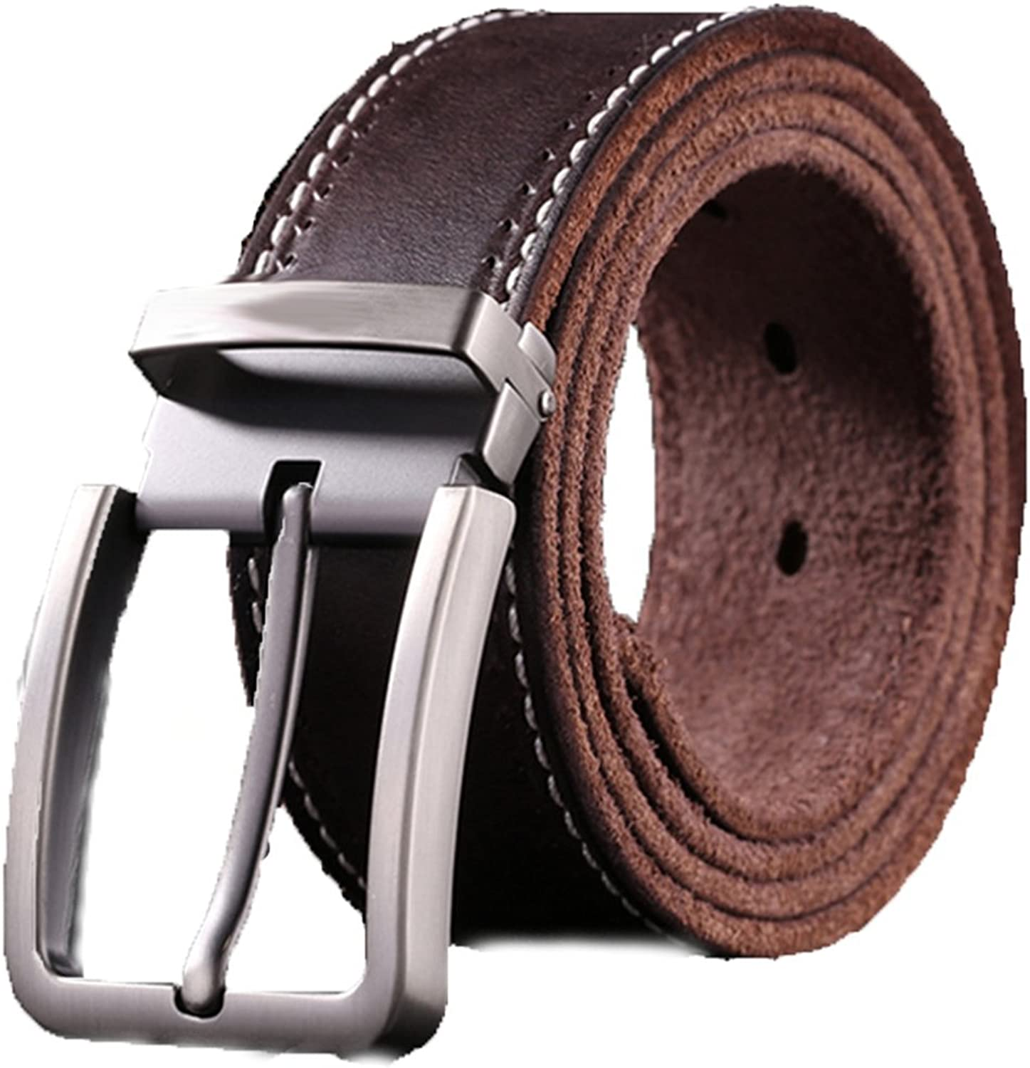 Nclon Men's belt,Casual style Pin buckle Leather Multipack Brown Black Belt-Brown2 125cm(49inch)