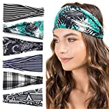 Headbands For Women, 6 PCS Pattern Cotton Headbands Yoga Sports Headbands Elastic Non Slip Sweat Boho Bands Workout...