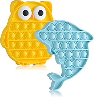 JOTIKO Push Pop Fidgets Toys Owl Dolphin 2 Pack, Cute Animal Popping Silicone Game Toys for Kids Toddlers, Sensory Toys Au...