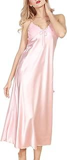 Women's Satin Nightgown Dress Silk Lace Sleeveless Long Chemise Lingerie Sleepwear