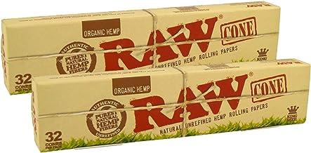 RAW 18431 Organic Pre-Rolled Cones King Size-2 x 32 Stuks-109 mm-Basic64, Papier