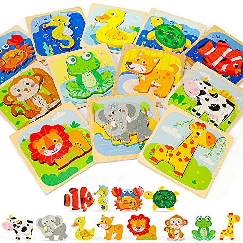 TOY Life 12 Pack Wooden Puzzles for Toddlers- Animal Montessori Toy for Toddlers- Animal Shaped Puzzles Baby and Toddler Toys- Early Development and Activity Toys Preschool Toys Gifts for Toddlers