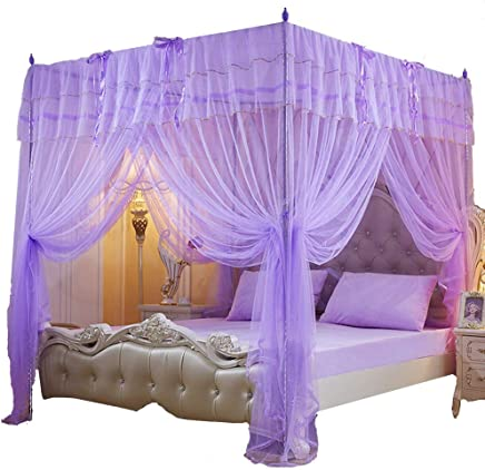 Mengersi 4 Corner Post Bed Curtain Canopy Mosquito Net for Girls Boys Bed Canopies Mosquito Net (Purple,  Twin)