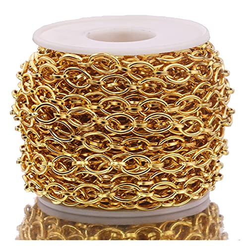 MURUI SS01 1 Metro de Acero Inoxidable Oro o Forma Cable 1: 1 Cadenas de Alambre Chic para la joyería de Bricolaje Que Hace Collar Pulsera tobetlet fabrica Suministros YC0512 (Color : Gold)