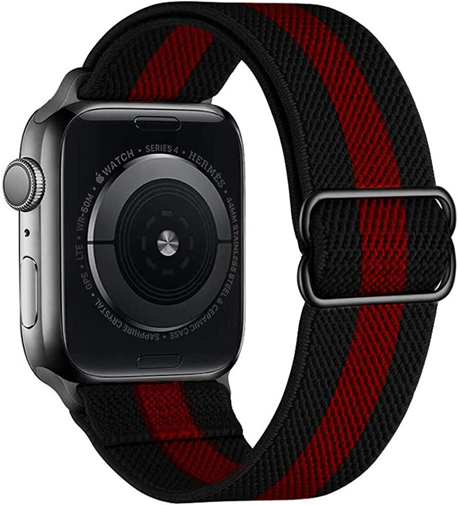 Casok Stretchy Solo LoopStrap Compatible with Apple Watch 38mm 40mm 42mm 44mm , Adjustable ElasticNylon Braided Band Compatible with iWatch Series SE/ 6/5/4/3/2/1