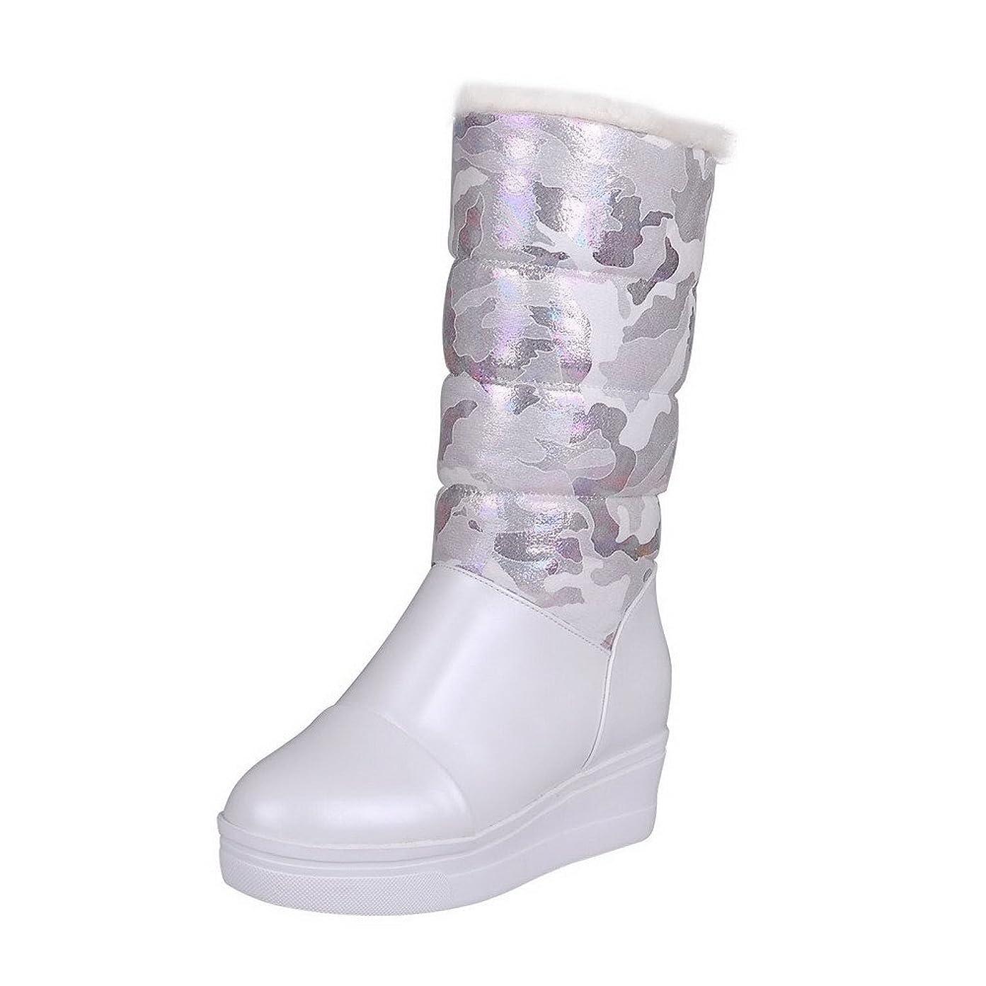 見る有毒覚えている[オールエイチキューファッション] 雑色 折り畳み可 ウィメンズ PUの皮 ミドルブーツ F2AQXE027561