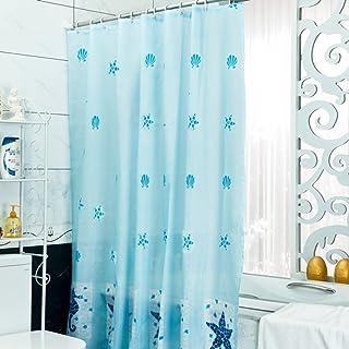 xiaojingLY Cortina de Ducha Azul,Engrosamiento Impermeable Cortina de Ducha del Cuarto de Baño a Prueba de Moho, Bloqueo Cortina Separador-A