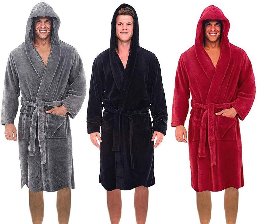 VEKDONE Mens Fleece Hooded Robe Warm Plush Collar Shawl Bathrobe Plus Size Dressing Gown