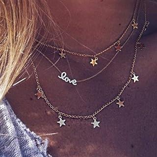 Fashband Star - Collar con lentejuelas de estilo bohemio con capas doradas con borla y cadena de cuello corto, regalo para mujeres y niñas