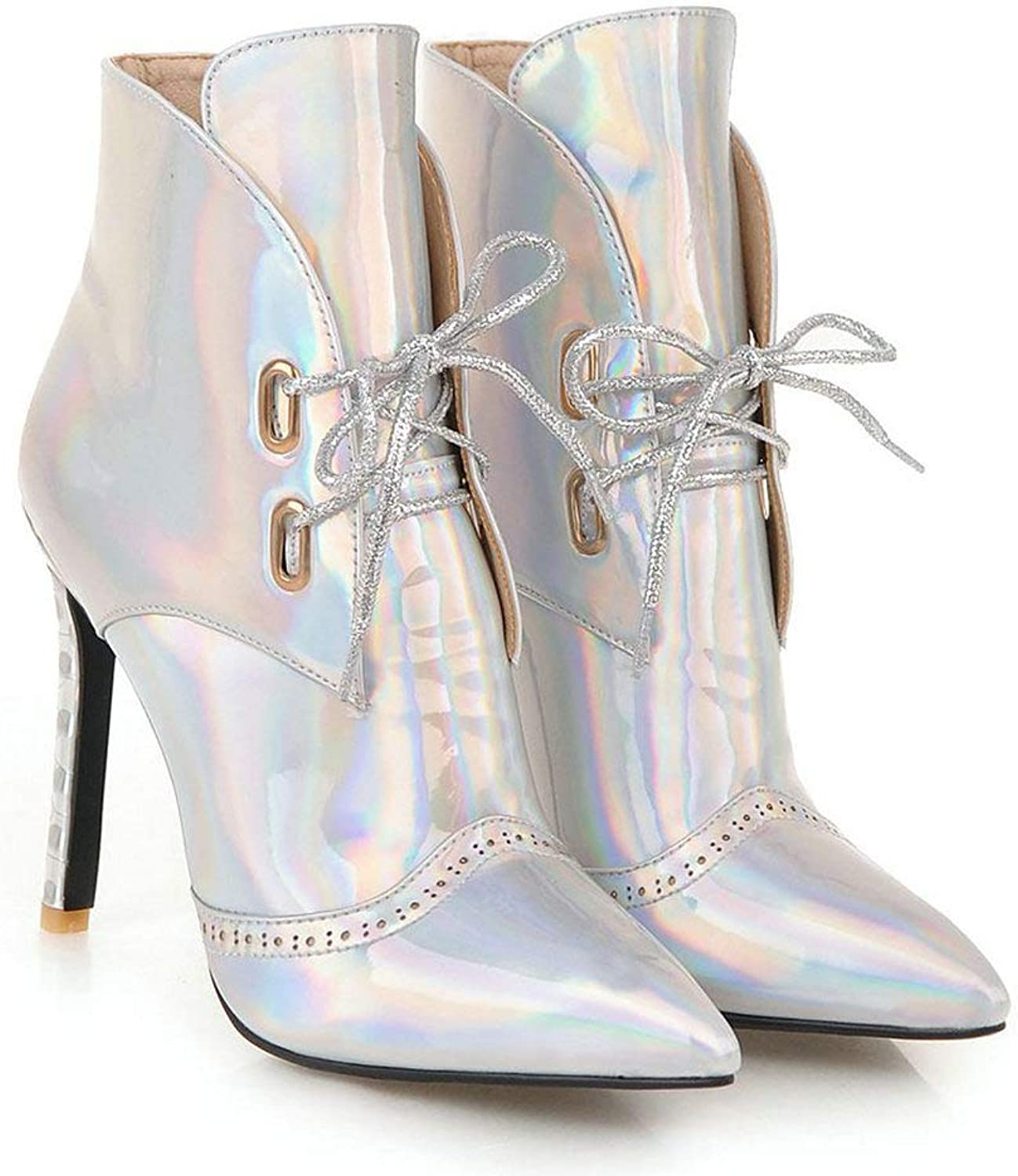 AnMengXinLing Sexy Ankle Boots Women Pointed Toe Stiletto High Heel Lace Up Dress Party Wedding Pumps shoes Silver gold