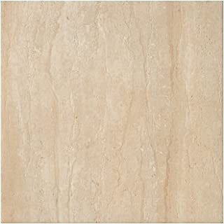 Samson 1036728 Travertini Polished Floor and Wall Tile, 16.75X16.75-Inch, Cream, 7-Pack