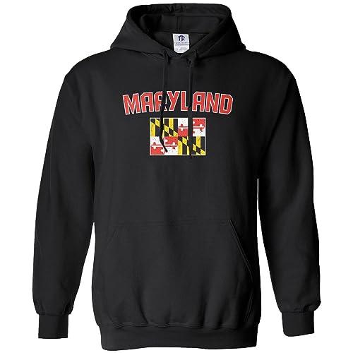 46a66c70249 Threadrock Men's Maryland Flag Hoodie Sweatshirt