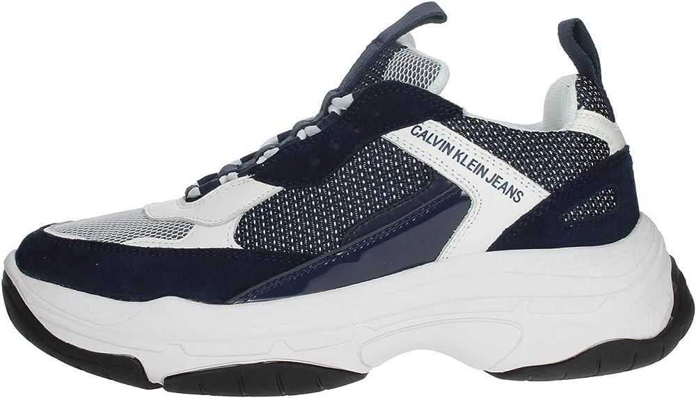Calvin klein marvin,scarpe sportive per uomo,sneakers,in pelle 40587-40