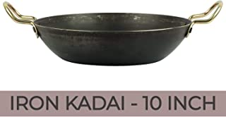 PRIMAVISION Iron Kadai for Cooking, Iron Fry Pan Kadhai Handmade Traditional Kadai Frying Pan, 10 INCH