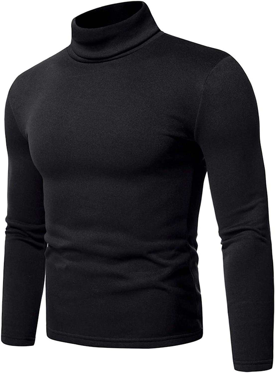 Men's Turtleneck Pullover Tops Long Sleeve Thermal Sweater Stretch Slim Casual Bottoming Blouse
