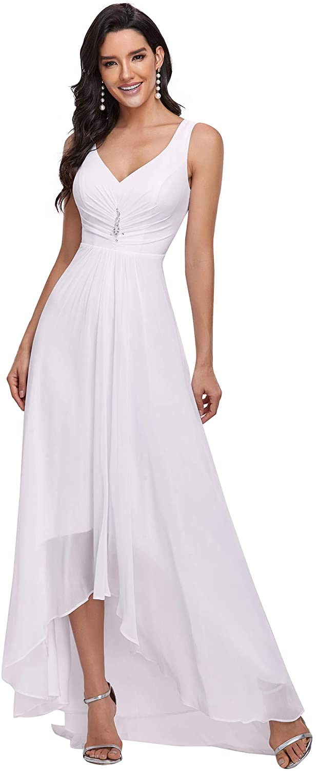Ever-Pretty Double V-Neck Rhinestones Ruched Bust Hi-Lo Evening Party Dress 09983