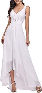 Ever-Pretty Alta Baja Vestido de Fiesta Gasa Dama de Honor Cuello en V sin Mangas para Mujer 09983