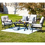 Patio Festival 4 Pices Patio Furniture Conversation Set,Metal Outdoor Furniture Set w/All Weather Cushioned Loveseat,Poolside Lawn Chairs,Coffee Table