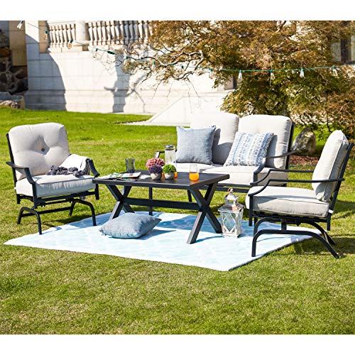 sunjoy patio furniture sets Patio Festival 4 Pices Patio Furniture Conversation Set,Metal Outdoor Furniture Set w/All Weather Cushioned Loveseat,Poolside Lawn Chairs,Coffee Table