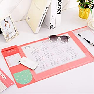 Mirstan Large Size Mouse pad Anti-Slip Desk Mouse Mat Waterproof Desk Protector Mat with Smartphone Stand, Pockets, Dividing Rule, 2020 Calendar and Pen Groove(Various Colors) (Pink Cherry)
