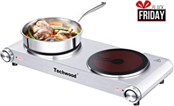Techwood Electric Hot Plates Double Burner for Cooking, 1800W Infrared Ceramic Dual Cooktop Countertop Burners