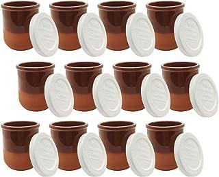 comprar comparacion Vasos yogurtera de cristal con tapa pack de 12 botes para yogurtera, tarros para postres recipiente para moulinex, lidl, s...