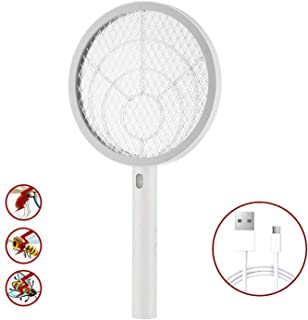 Teniswatter Electric Bug Zapper Fly Swatter Zap Mosquito for Indoor and Outdoor Pest Control, USB Rechargeable, LED Lighting W/Base,3 Layers Mesh Safety Protection Safe to Touch, White