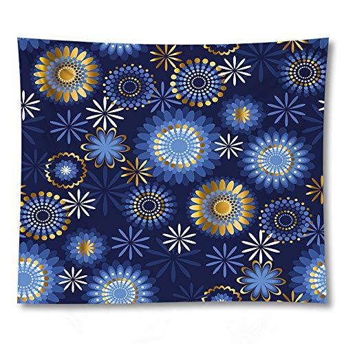 WAXB Tapiz Mandala Azul Manta Tapiz Colgante De Pared Estera De Yoga Toalla De Playa Decoración De Dormitorio Mantel, Dormitorio, Habitación, Decoración del Hogar, Regalo, 51 X 59 Pulgadas