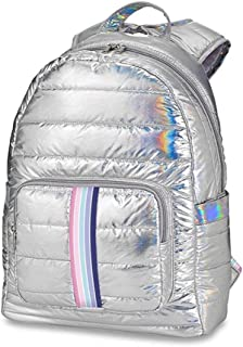 Top Trenz Iridescent Silver Puffer Backpack with Rainbow Stripe - Sweetness Strap