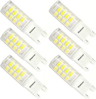 Kakanuo G9 LED Bulb 40W Equivalent Daylight White 6000K AC 100V-265V 360 Degree Omni Beam Angle Non-dimmable JCD Light Bulb G9 Base 52X2835SMD(Pack of 6)